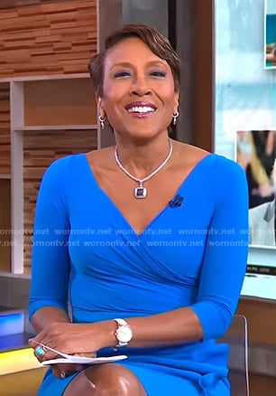 Robin's blue wrap dress on Good Morning America