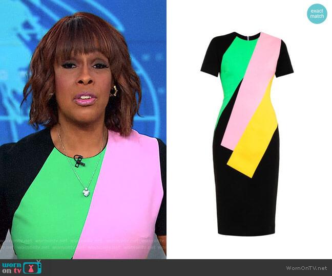 Lockwood Colour-Block Crepe Dress by Roksanda worn by Gayle King  on CBS This Morning