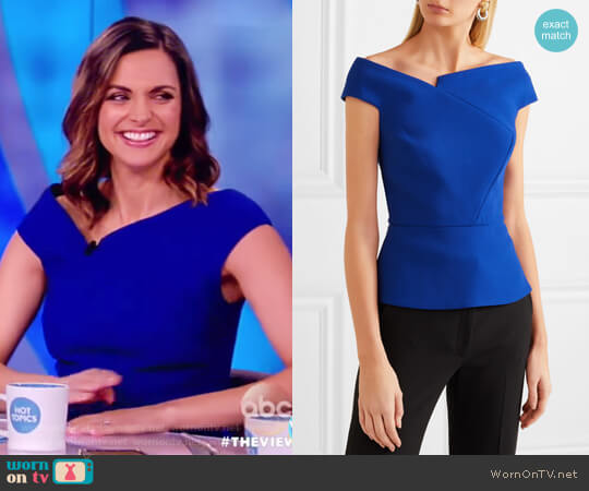 Elmswell off-the-shoulder crepe top by Roland Mouret worn by Paula Faris on The View