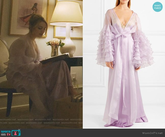 Casino Royale Ruffled Robe by Rosamosario worn by Elizabeth Gillies on Dynasty