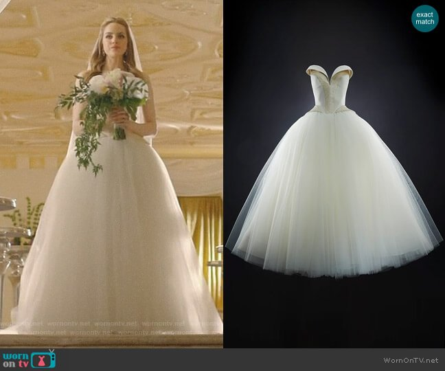 Bridal Cocktail Dress by Rubin Singer worn by Elizabeth Gillies on Dynasty