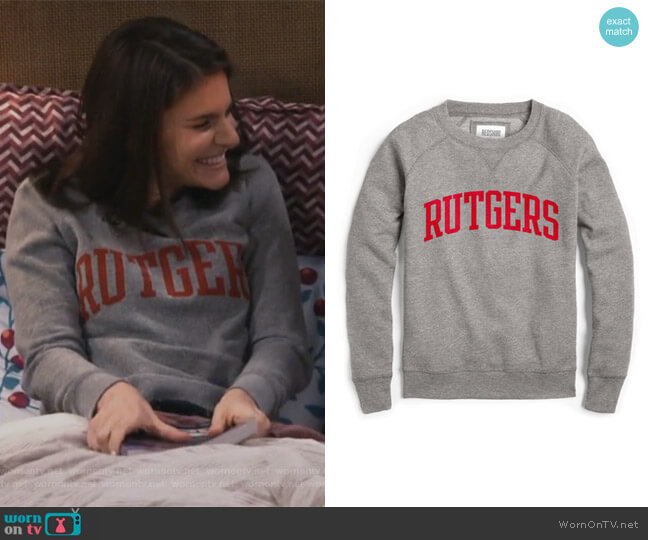 Red Shirt Raglan Crew by Rutgers worn by Lindsey Kraft on Living Biblically