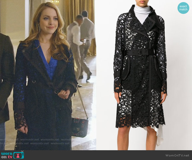 Sheer Lace Trench Coat by Sacai worn by Fallon Carrington (Elizabeth Gillies) on Dynasty