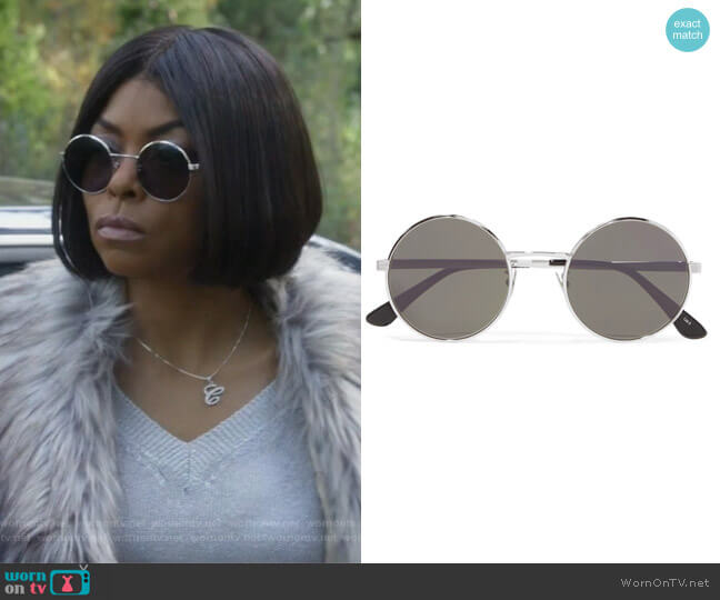 Round-frame silver-tone sunglasses by Saint Laurent worn by Taraji P. Henson on Empire