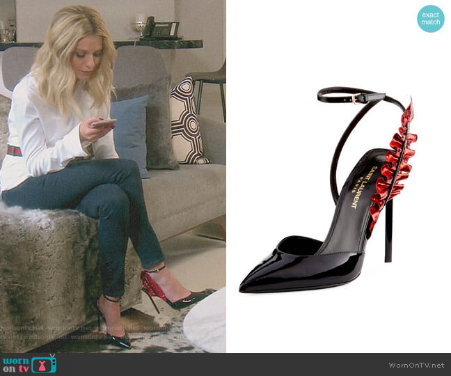 Patent Metallic-Ruffle Pump by Saint Laurent worn by Dorit Kemsley on The Real Housewives of Beverly Hills