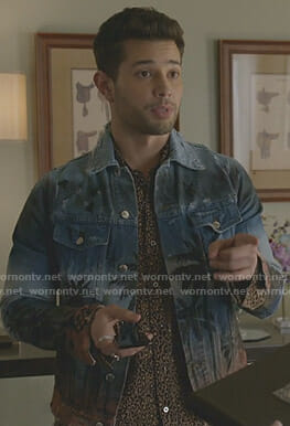 Sam's leopard print shirt and palm tree print denim jacket on Dynasty