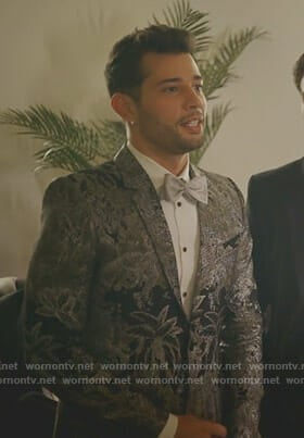 Sam's metallic brocade blazer on Dynasty