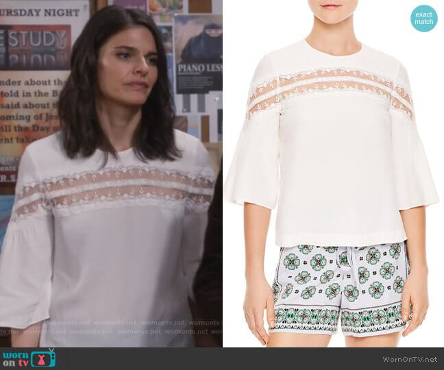 Adina Mesh-Inset Top by Sandro worn by Leslie Curry (Lindsey Kraft) on Living Biblically