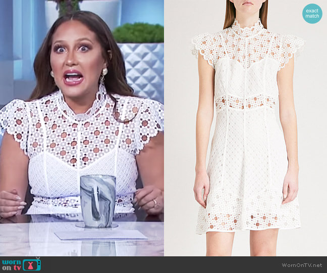 Cutout embroidered lace mini dress by Sandro worn by Adrienne Houghton  on The Real
