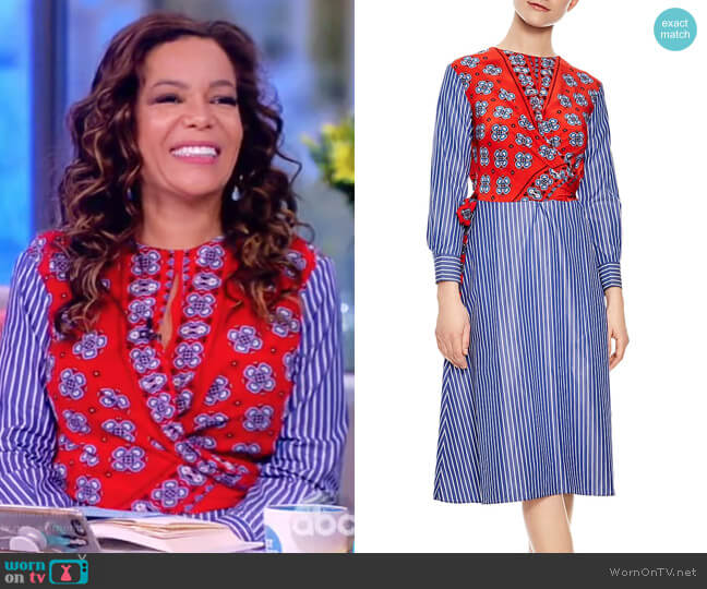 Isadora Mixed-Print Midi Dress by Sandro worn by Sunny Hostin  on The View