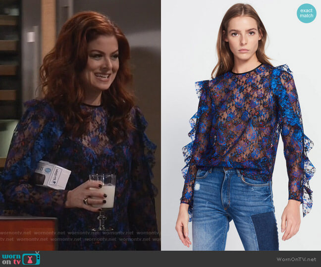 Top in Paisley Print Lace by Sandro worn by Debra Messing on Will & Grace