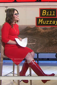 Savannah's red dress and tall rain boots on Today