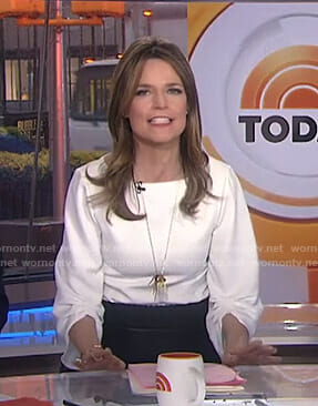 Savannah's white ruched sleeve top on Today