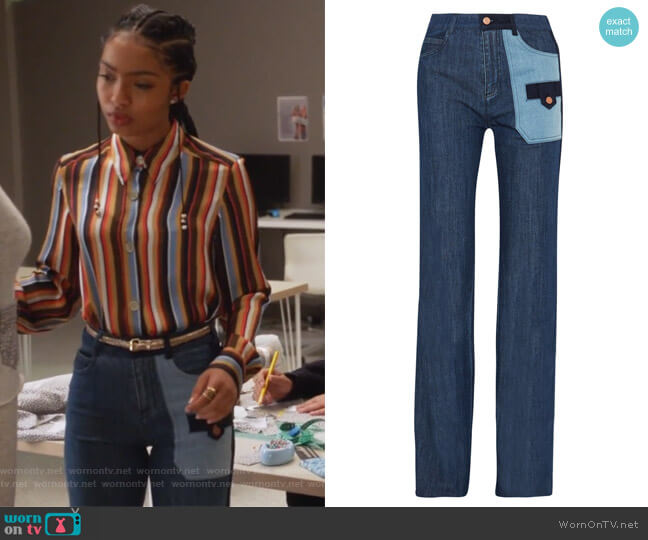 Patchwork Denim Pants by See by Chloe worn by Zoey Johnson (Yara Shahidi) on Grown-ish