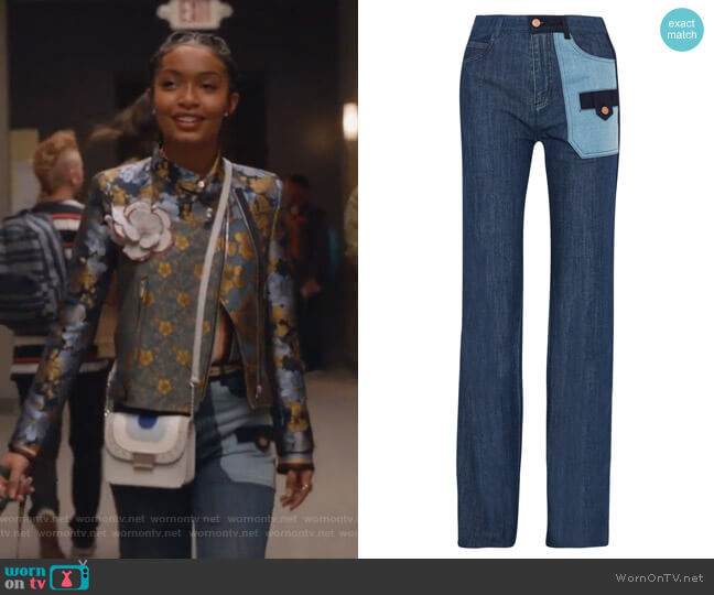 Patchwork Denim Wide-leg Jeans by See by Chloe worn by Yara Shahidi on Grown-ish
