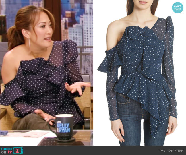 Ruffle Asymmetrical Plumetis Top by Self Portrait worn by Carrie Inaba on Live with Kelly & Ryan