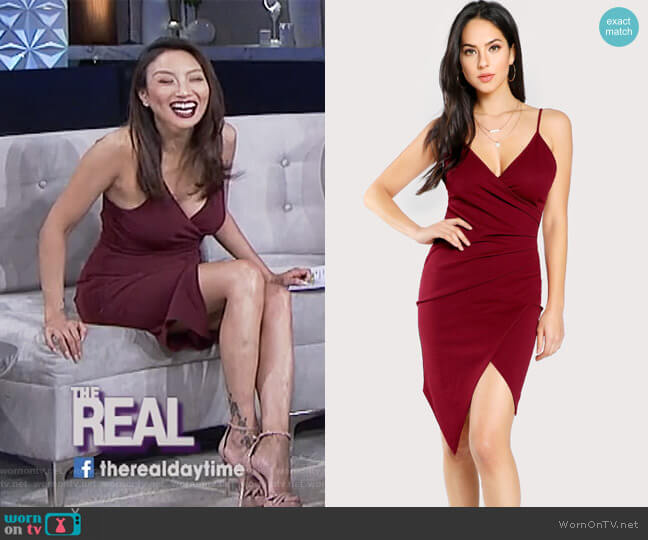 Ruched Overlap Form Fitting Cami Dress by Shein worn by Jeannie Mai  on The Real