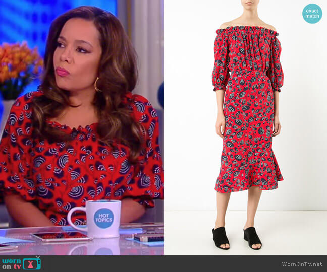 Off Shoulder Printed Dress by Saloni worn by Sunny Hostin on The View