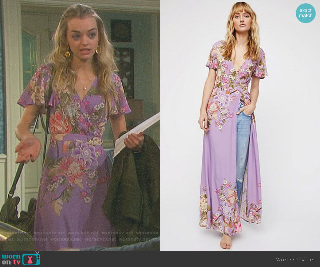 Blue Skies Wrap Maxi Dress by Spell and the Gypsy Collective worn by Olivia Rose Keegan on Days of our Lives