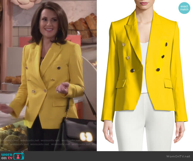 Peak Faux Double-Breasted Tailored Blazer by Stella McCartney worn by Karen Walker (Megan Mullally) on Will & Grace