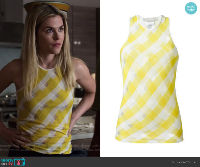 'Transparent Check' top by Stella McCartney worn by Trish Walker (Rachael Taylor) on Jessica Jones