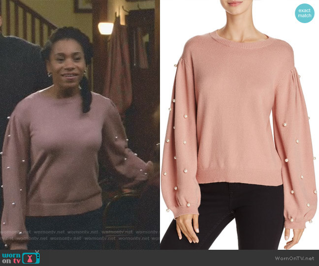 Faux Pearl Sweater by Sunset & Spring worn by Maggie Pierce (Kelly McCreary) on Greys Anatomy