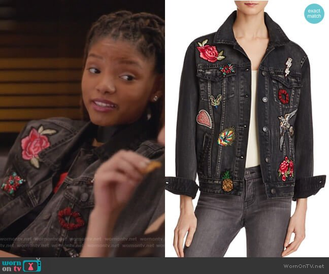 Patched Denim Jacket by Sunset & Spring worn by Skylar Forster (Halle Bailey) on Grown-ish