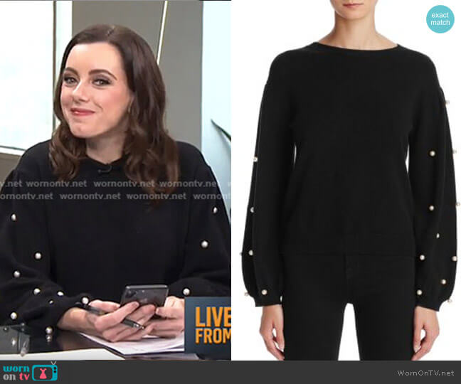 Faux Pearl Sweater by Sunset & Spring worn by Melanie Bromley on E! News