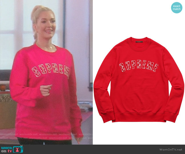 Louis Vuitton X Supreme Arc Logo Sweatshirt by Supreme worn by Erika Girardi on The Real Housewives of Beverly Hills