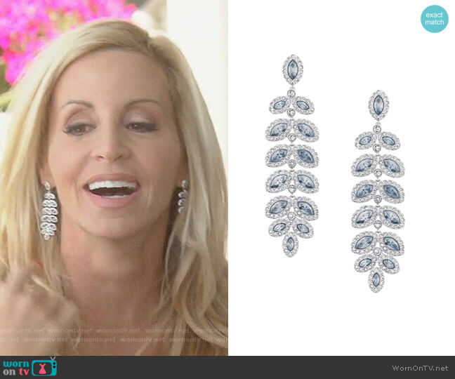 Baron Silvertone and Pale Blue Crystal Drop Earrings by Swarovski worn by Camille Grammer  on The Real Housewives of Beverly Hills