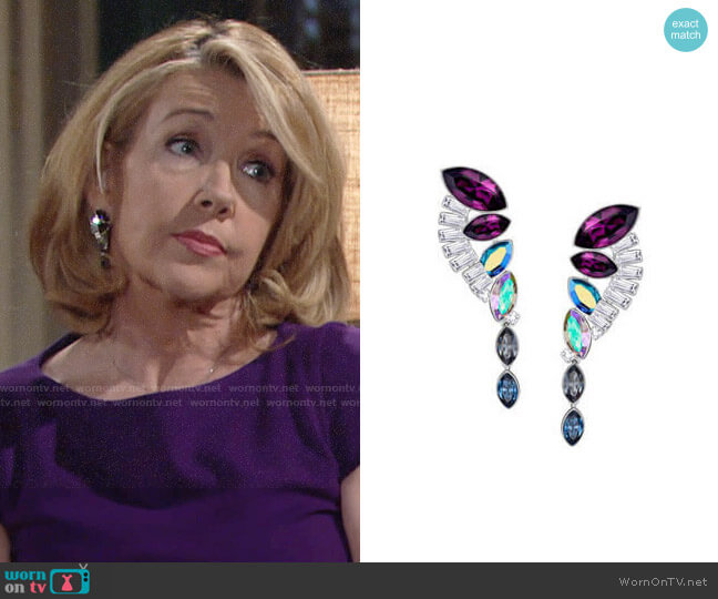 Swarovski Cosmic Pierced Earrings Set worn by Melody Thomas-Scott on The Young & the Restless