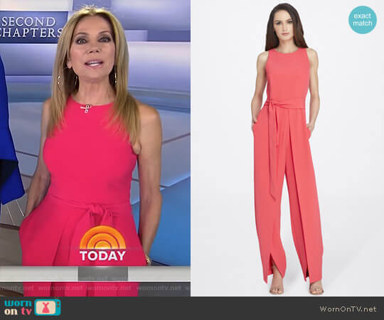 Split-Leg Crepe Jumpsuit by Tahari ASL worn by Kathie Lee Gifford on Today