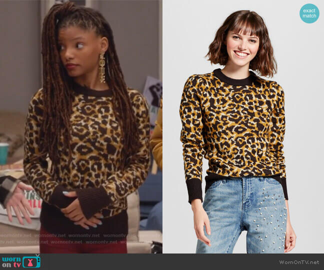 Jacquard Crew Neck Sweater Leopard Print by Who What Wear for Target worn by Halle Bailey on Grown-ish