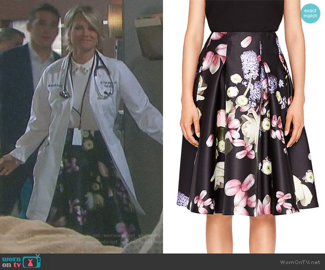 Angi Kensington Floral Full Skirt by Ted Baker worn by Kayla Brady (Mary Beth Evans) on Days of our Lives