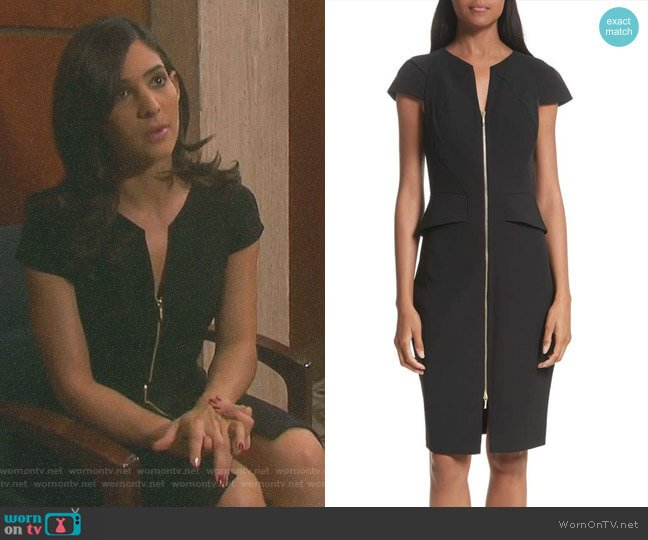 Architectural Pencil Dress by Ted Baker worn by Gabi Hernandez (Camila Banus) on Days of our Lives