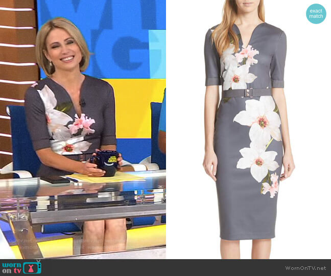 Floral Print Belted Body-Con Dress by Ted Baker worn by Amy Robach  on Good Morning America