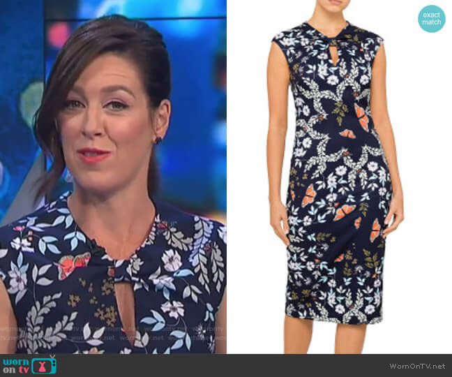 Kairra Kyoto Gardens Bow Neck Dress by Ted Baker worn by Gorgi Coghlan  on The Project