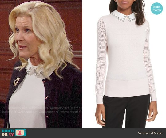 Ted Baker Braydey Embellished Collar Sweater worn by Pamela Douglas (Alley Mills) on The Bold & the Beautiful