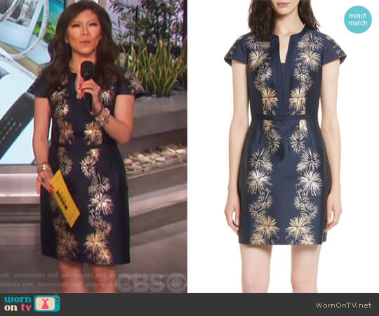 Tzalla Sculpted Stardust Jacquard Dress by Ted Baker  worn by Julie Chen  on The Talk