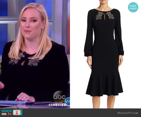 Embellished Long-Sleeve Dress by Teri Jon by Rickie Freeman worn by Meghan McCain  on The View