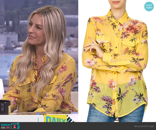 Moulin Jaune Sheer Floral-Print Silk Shirt by The Kooples worn by Morgan Stewart on E! News