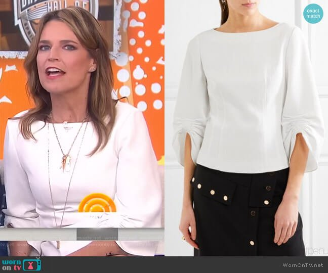 Ruched Piqué Top by Tibi worn by Savannah Guthrie on Today