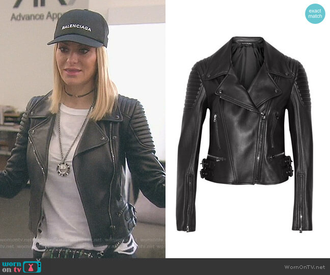 Leather biker jacket by Tom Ford worn by Dorit Kemsley on The Real Housewives of Beverly Hills