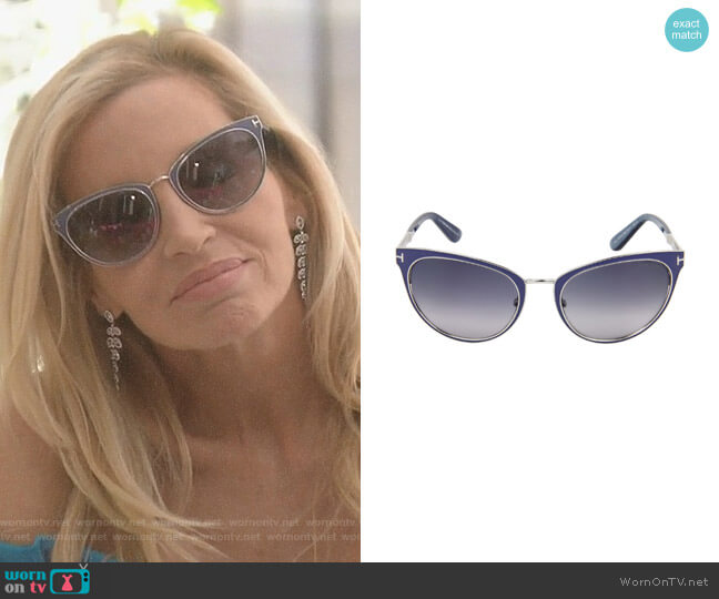 'Nina' Sunglasses in Blue by Tom Ford worn by Camille Grammer  on The Real Housewives of Beverly Hills