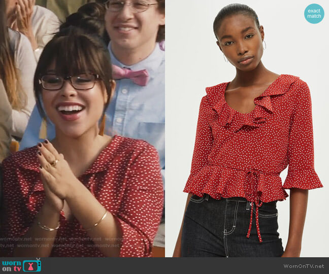 Spot Print Frill Blouse by Topshop worn by Mariana Foster (Cierra Ramirez) on The Fosters