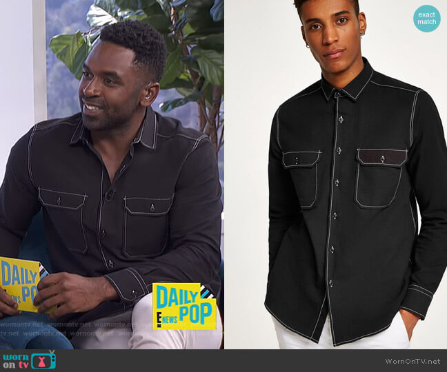 Black Top Stitch Shirt by Topman worn by Justin Sylvester (Justin Sylvester) on E! News