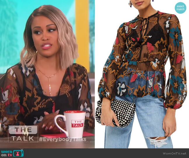 Embellished Mesh Top by Topshop worn by Eve on The Talk