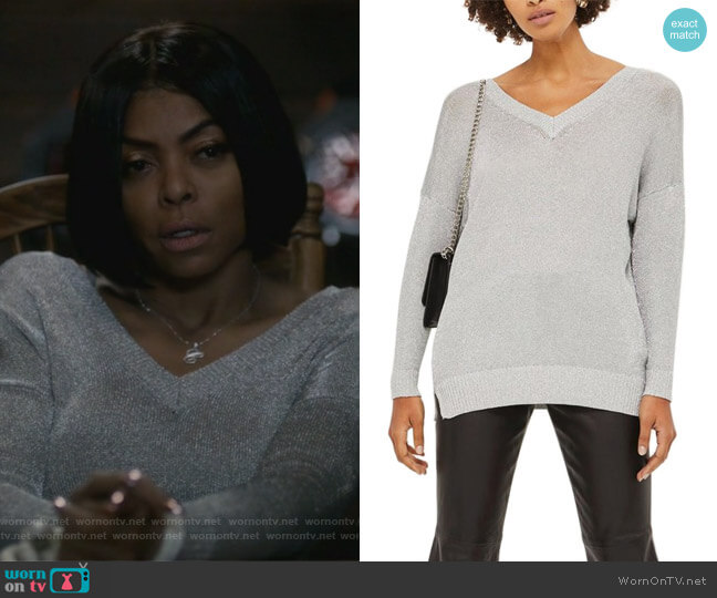Metallic Longline V-Neck Sweater by Topshop worn by Taraji P. Henson on Empire