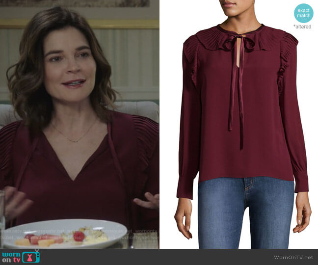 Diana Silk Blouse by Tory Burch worn by Betsy Brandt on Life in Pieces