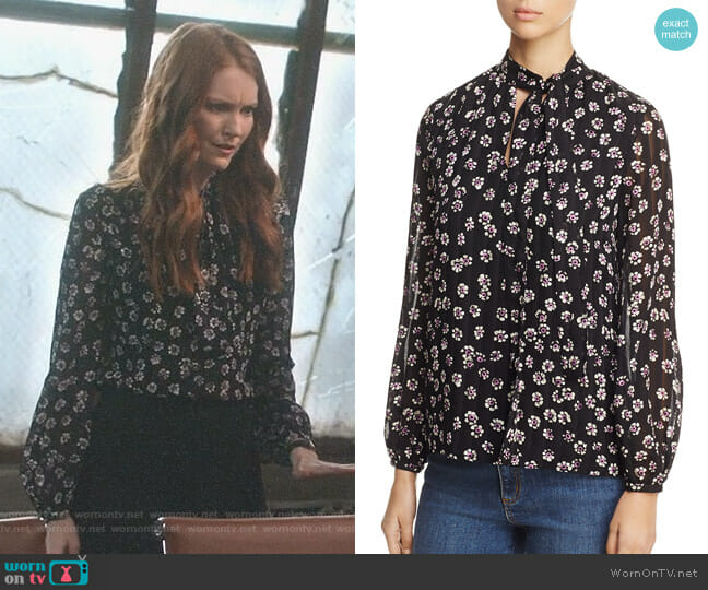 'Emma' Tie-Neck Silk Blouse by Tory Burch worn by Darby Stanchfield on Scandal